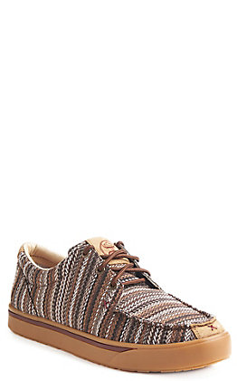 Twisted X HOOey Men's Brown Print Canvas Casual Shoes