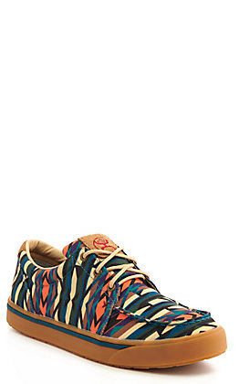 Twisted X Men's HOOey Loper Green and Tan Multi Print Lace Up Casual Shoes
