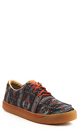 Twisted X Men's HOOey Lopers Black & Grey Aztec Print Lace Up Casual Shoe