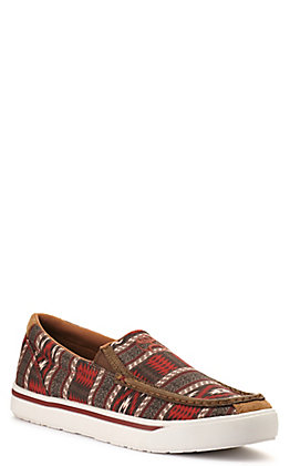 Twisted X Men's Hooey Loper Nomad Tan and Red Aztec Slip On Casual Shoe