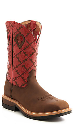 Twisted X Men's Lite Brown and Red Barbwire Square Alloy Toe Work Boot