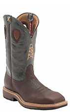 Twisted X Ruff Stock Men's Brown with Green Oil Derrick Top Wide Square Steel Toe Work Boots