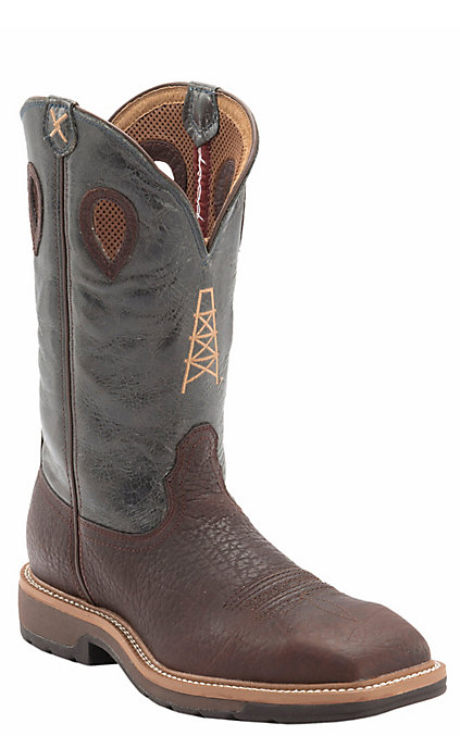 03b76624989 Twisted X Lite Men's Brown and Blue Oil Derrick Wide Square Steel Toe Work  Boots