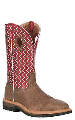 Twisted X Distressed with Red Top with White Zig-Zag Stitch Steel Toe Square Toe Work Boot