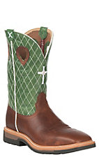 Twisted X Peanut w/Green Top w/Diamond & Cross Stitch Steel Toe Square Toe Work Boot