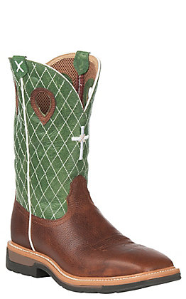 Twisted X Peanut with Green Top with Diamond & Cross Stitch Steel Toe Square Toe Work Boot