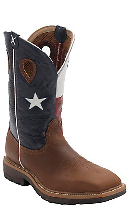 Twisted X Men's Lite Brown and Texas Flag Wide Square Steel Toe Work Boot