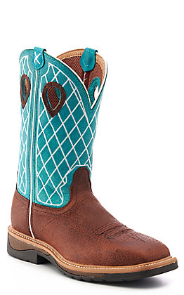 Twisted X Men's Lite Brown Distressed Leather and Turquoise Diamond Wide Square Steel Toe Work Boot