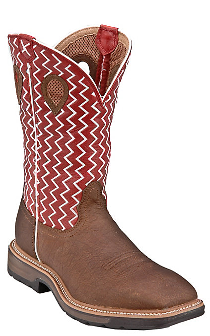 eee03f3c990 Twisted X Lite Cowboy Men's Distressed Saddle and Cherry Wide Square Soft  Toe Work Boots