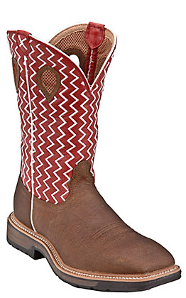 Twisted X Men's Lite Distressed Saddle and Red Wide Square Toe Work Boot