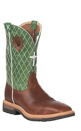 Twisted X Men's Cognac with Cross & Diamond Stitch on Green Top Square Toe Work Boots