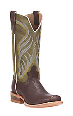 Twisted X Men's Chocolate with Olive Upper Western Square Toe Boots