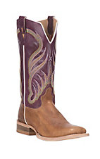 Twisted X Men's Tan with Purple Upper Western Square Toe Boots