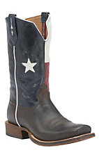 Twisted X Men's Chocolate Texas Flag Double Welt Square Toe Western Boots