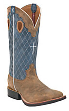 Twisted X Men's Brown Bomber w/ Blue Diamond Stitch & Cross Square Toe Western Boots