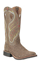 Twisted X Men's Brown Check with Brown Embroidered Upper Western Square Toe Boots