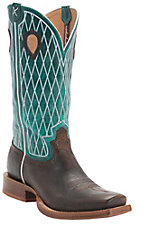 Twisted X Men's Copper w/Turquoise Top Diamond Stitch Double Welt Square Toe Western Boots