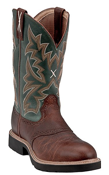 Twisted X Men's Tan w/Green Top Steel Toe Western Work Boot ...