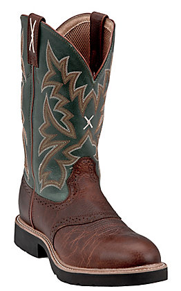 Twisted X Men's Cognac and Green Round Steel Toe Work Boots