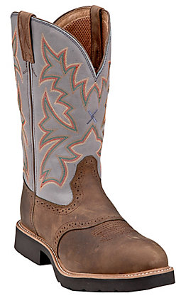 Twisted X Men's Distressed Saddle with Denim Top Steel Toe Cowboy Work Boots