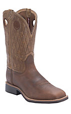 Twisted X Top Hand Brown with Tan Diamond Stitch Top Square Toe Western Boots