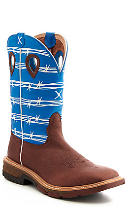 Twisted X Men's Brown & Sky Blue Square Soft Toe Work Boots