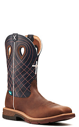 Twisted X Men's Mocha Brown and Navy Blue with Cross Embroidery Waterproof Wide Square Alloy Toe Work Boot