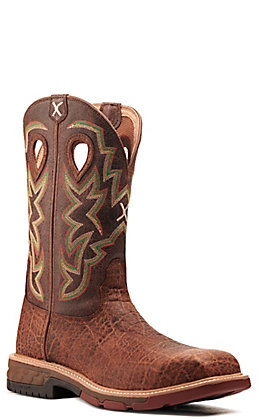 Twisted X Men's Nano Tan Elephant Print with CellStretch Wide Square Steel Toe Work Boot