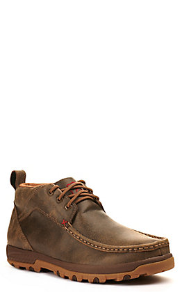 Twisted X Men's Bomber Brown Moc Toe Chukka Driving Lace Up Casual Shoe