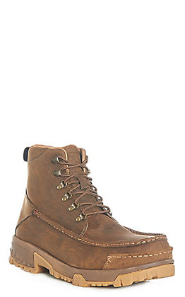 "Twisted X Men's Distressed Brown Moc Composite Toe 6"" Lace Up Work Boots"