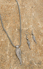 Silver Necklace with Wing Pendant Jewelry Set