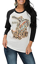 XOXO Art & Co. Women's White, Black and Gold Las Vegas 3/4 Sleeve Casual Knit Shirt