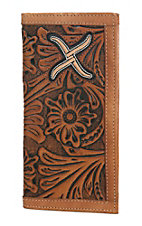 Twisted X Men's Natural Tooled Leather with Embroidered Inlay Rodeo Wallet