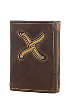 Twisted X Men's Brown with Gold Inlay Tri Fold Wallet