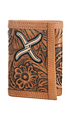 Twisted X Men's Natrual with White Inlay Tri Fold Wallet