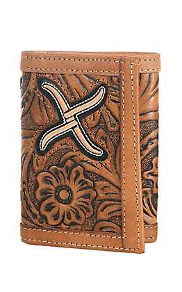 Twisted X Men's Natural Tooled Leather with Embroidered Inlay Tri-Fold Wallet