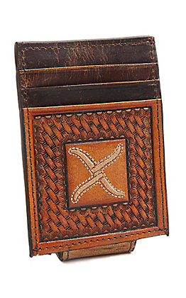 Twisted X Men's Brown Basketweave Magnetic Money Clip