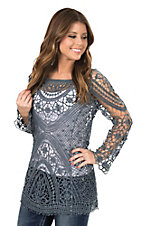 Ethyl Women's Denim Colored Crochet Long Sleeve Fashion Top