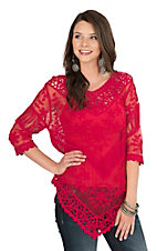 Ethyl Women's Cherry Crochet and Mesh 1/2 Sleeve Fashion Top