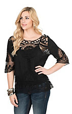 Ethyl Women's Black Crochet 3/4 Sleeve Fashion Top