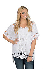 Ethyl Women's White Crochet Poncho
