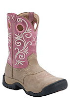 Twisted X Women's Dusty Tan with Pink Top Saddle Vamp Round Toe Work Boot