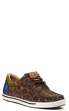 Twisted X Women's Kicks Brown Shiny Leopard Print Lace Up Sneakers Casual Shoe