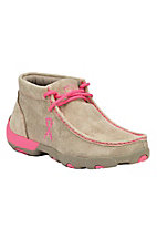 Twisted X Tough Enough To Wear Pink Women's Bomber Dusty Tan with Pink Driving Moccasin Casual Shoe