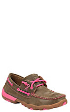 Twisted X Tough Enough To Wear Pink Women's Bomber Brown Lace Up Casual Shoes