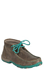 Twisted X Ladies Bomber Brown with Turquoise Driving Moccasin Casual Shoe