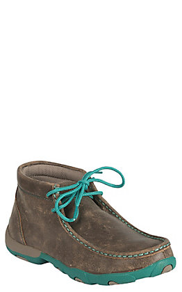 Twisted X Women's Bomber Brown & Turquoise Accents Driving Moccasin Casual Shoes
