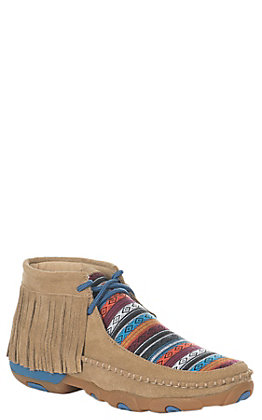 Twisted X Women's Tan & Blue Serape Fringed Driving Moc Casual Shoes