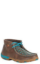 Twisted X Women's Brown with Turquoise Diamond Pattern Driving Moccasin