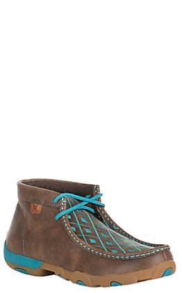 Twisted X Women's Brown with Turquoise Diamond Pattern Driving Moccasin Casual Shoes